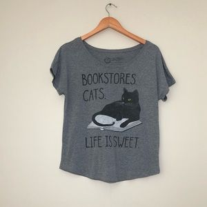 Out of Print Books and Cats Tee